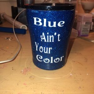 Other - 10 oz glittered tumbler blue ain't your color